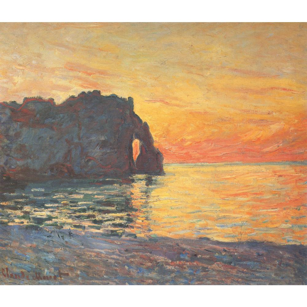Claude Monet paintings on Canvas Etretat, Cliff of d Aval, Sunset ...