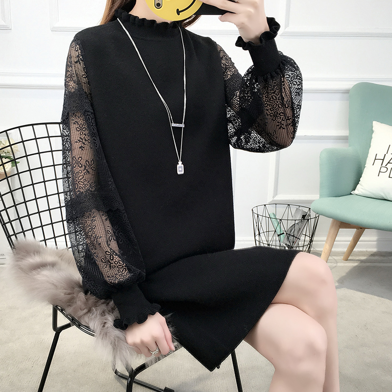 Sexy Lace Patchwork Sweater Dress Women Casual Turtleneck Long Sleeve Knitted Dresses Jumper Antumn Winter Pullover