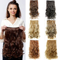Big Discount !Hot 20inch 50cm One Piece Full Head 130g Curly Clip On Hair Extensions Synthetic Hair Extension  Wholesale