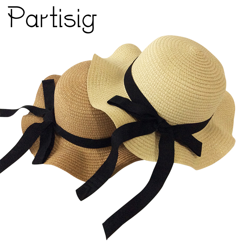 Girls Summer Cap Black Ribbon Decorate Wavy Straw Hat For Girls Children Panama Hat Kids Sun Cap Baby Beach Hats(China)