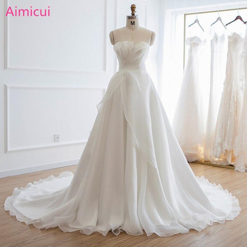 Real Sample Wedding Dress Vestido De Noiva Luxury Crystal Lace Up Back Bandage Ball Gowns Bridal Organza Bride Wedding Dresses