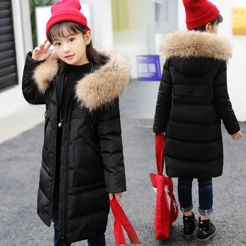 2018 New Fashion Girls Cotton Down Parkas Warm Toddler Girls Coat Snowsuits Long Natural Fur Winter Parkas Teenager Jackets 10 цена