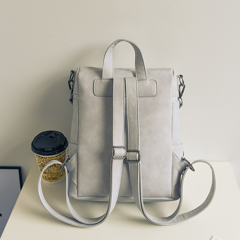 Simple rivet Women multifunctional backpack female shoulder bag Large capacity PU Leather Backpacks For Teenage Girls School Bag