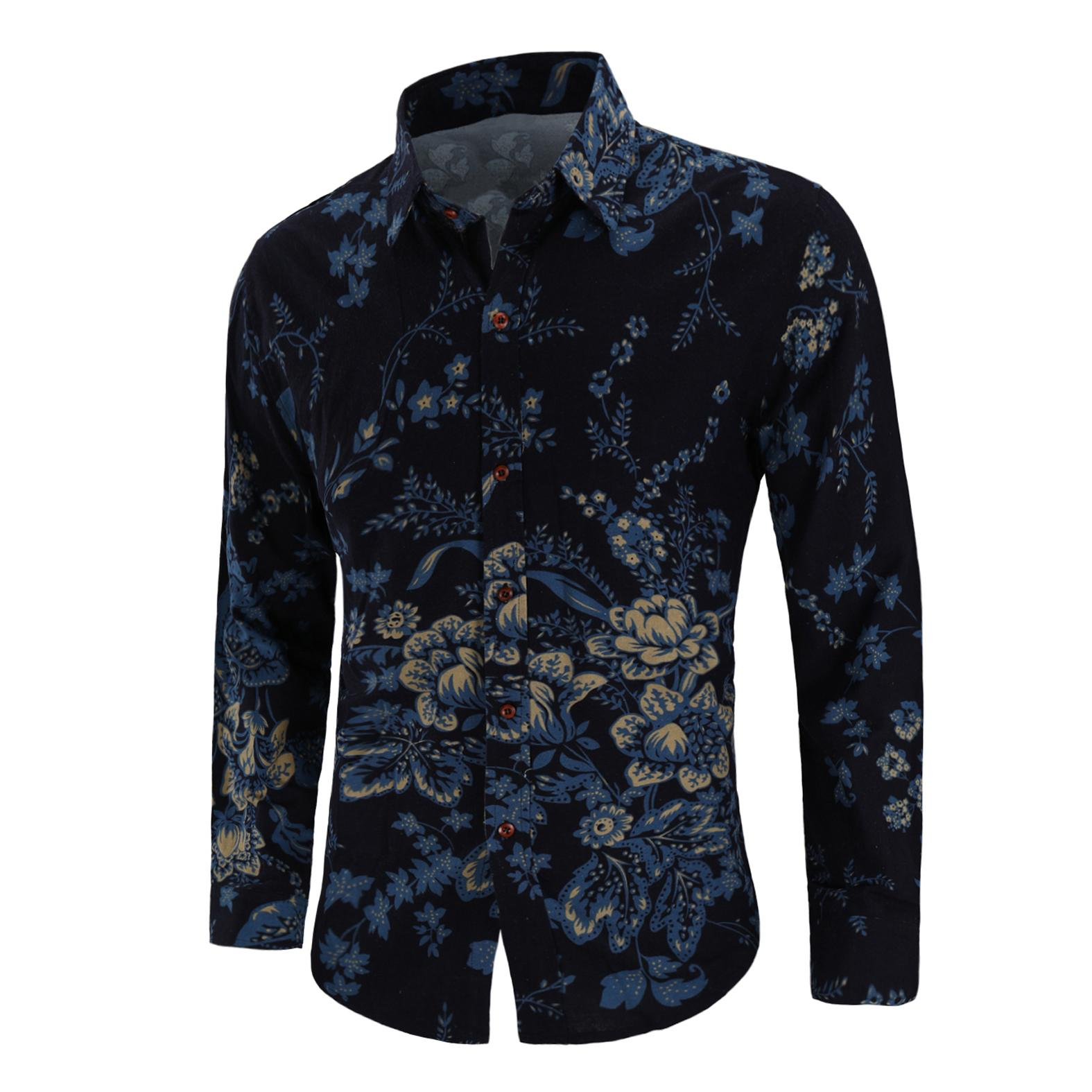 Floral Shirt Men Long sleeve Linen Shirts Men 39 s Clothes Fashion Flower Blouse Men Slim fit Summer New in Tank Tops from Men 39 s Clothing