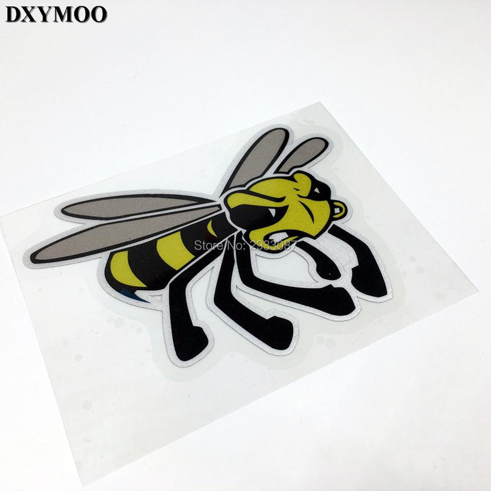 1PCS Reflective Vinyl Honeybee Car-styling Motorcycle Helmet Sticker Decals for Vespa Club Bee hot sale 1pc longhorn hilux 900mm graphic vinyl sticker for toyota hilux decals badges detailing sticker car styling accessories