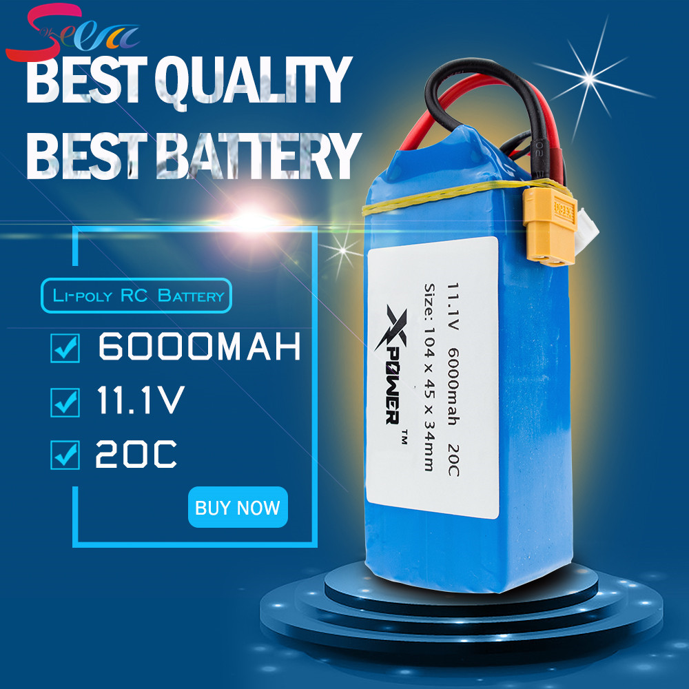 RC Lipo Batteria 11.1V 6000mAh 20C For XK X380 X380-A X380-B X380-C RC Quadcopter Helicopter Drone Spare Parts Toys Car Boat серьги русское золото 96027279 6