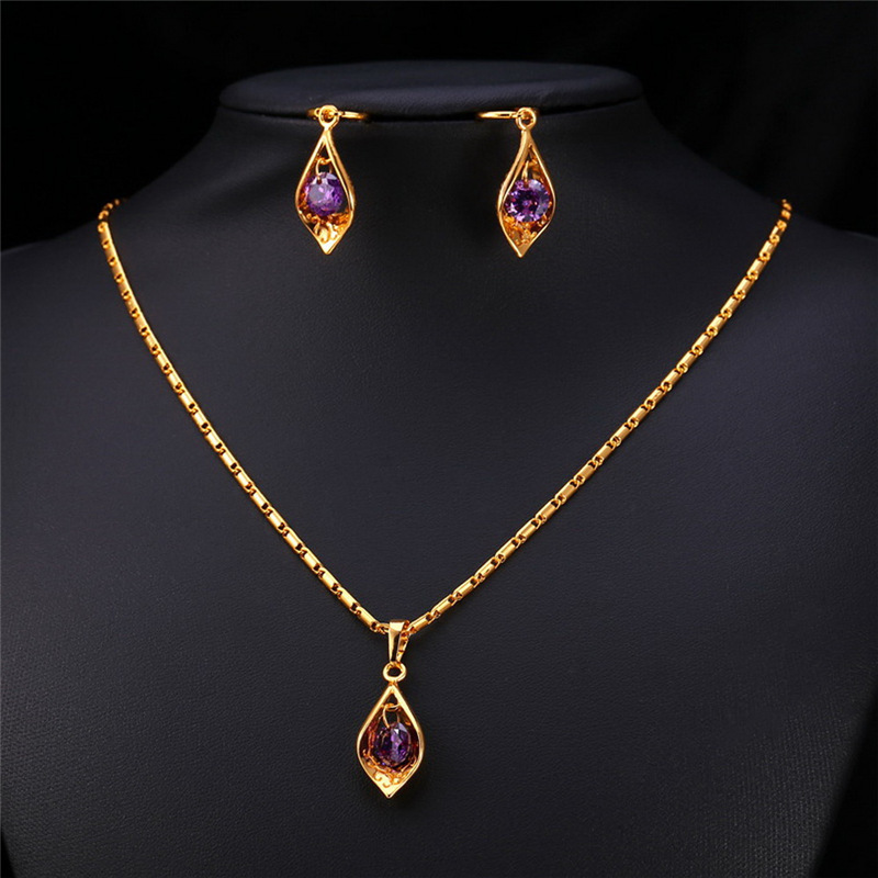 e9149bbb72ab KPOP Фиолетовый Комплект Кулон Цепочки и ожерелья серьги подарок для Для  женщин Обручение Желтое золото серебро Цвет Мода Для женщин jewelry pe204