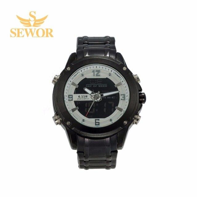 2017 SEWOR Top Brand New Fashion Luxury Quartz electronic Dual Display LED Men's Watch C300-303