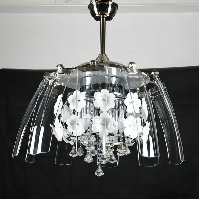 New K9 Crystal Ceiling Fan Lights Took Off Stealth Restaurant Light 52 Inch Compact Fashion Single Lamps Led