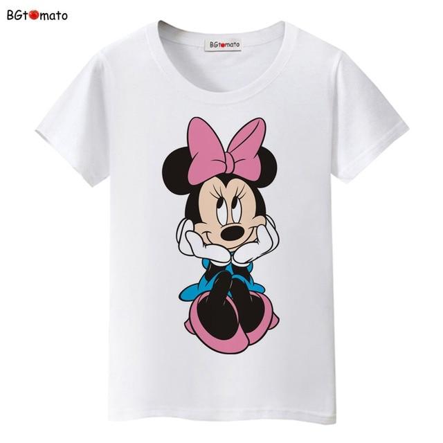 664 23 De Descuentoaliexpresscom Comprar Bgtomato Nuevo Hermosas Mujeres Mickey Camiseta Verano Super Lindas Camisetas De Dibujos Animados