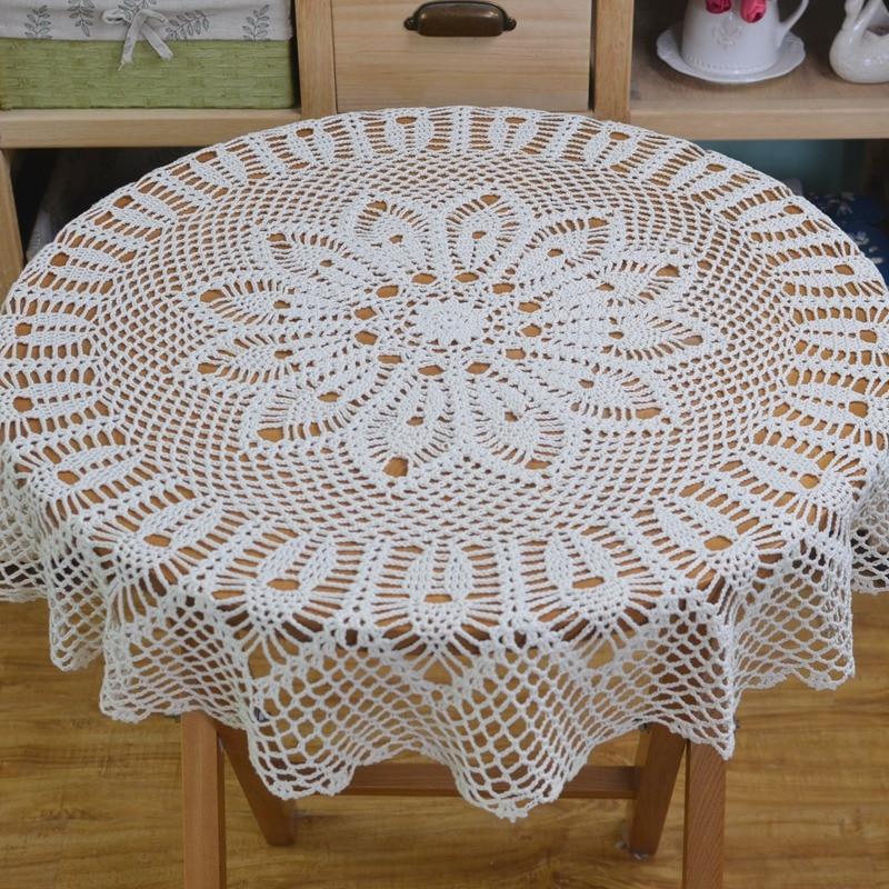 Crochet Round Table Cloth Lace Elegant Doilies Handmade Vintage