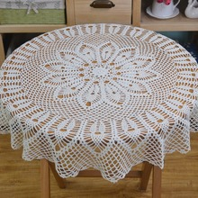 Mantel de ganchillo redondo de encaje elegante hecho a mano Vintage Crochet Beige 90cm (35 pulgadas)