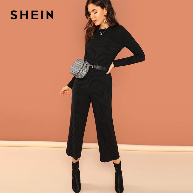 SHEIN Black Wide Leg Jersey   Jumpsuit   Hole Back Stretchy Round Neck Long Sleeve   Jumpsuits   Women Autumn Elegant Maxi   Jumpsuit