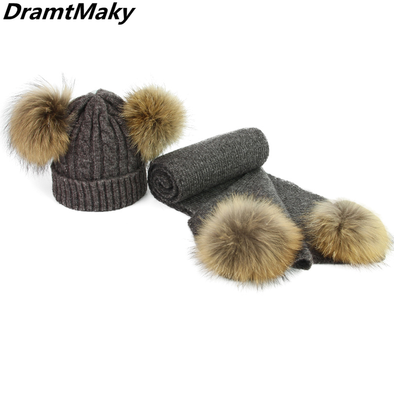 Children Real Fur Pompom Winter Hat and Scarf Set for Child and Adult Women Skullies Beanies Warm Cap Elasticity Knit Hats Kids
