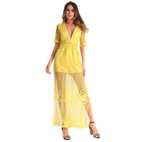 Spring Summer New European And American Women 039 S V Neck Sexy Lace Dress Slim Was