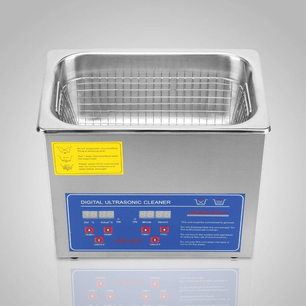 3L Digital Cleaning Machine Ultrasonic Cleaner Bath Tank W/ Timer Heated Machine