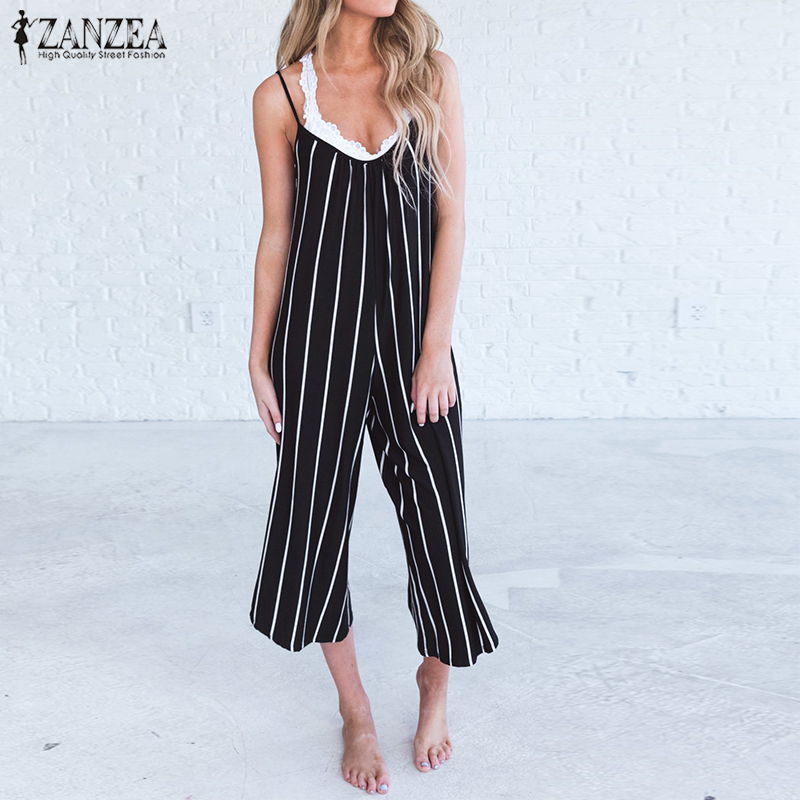 S 5XL ZANZEA Striped Long Wide Leg Romper 2018 Sexy Strappy Deep V Neck Summer Jumpsuits Blackless Sleeveless Party Overalls