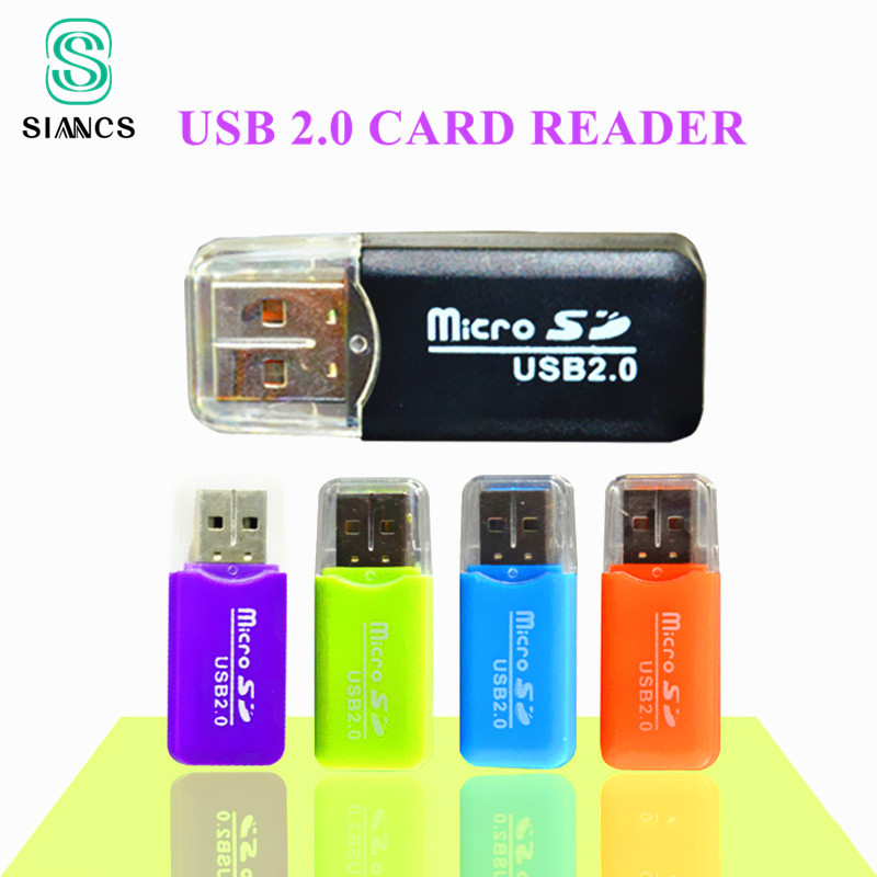 SIANCS Colorful External card reader Mini USB 2.0 Card reader for TF Card for PC MP3 MP4 Player usb hub adapter fffas useful colorful external cardreader mini usb 2 0 card reader for micro sd card tf card for pc mp3 mp4 player adapter 1$