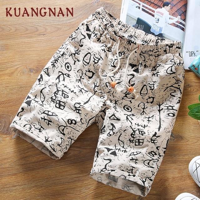 KUANGNAN Summer Shorts Men Cotton Linen Men Shorts Print Casual Short Men Drawstring Mid Regular Regular 2018 Chinese Style 1