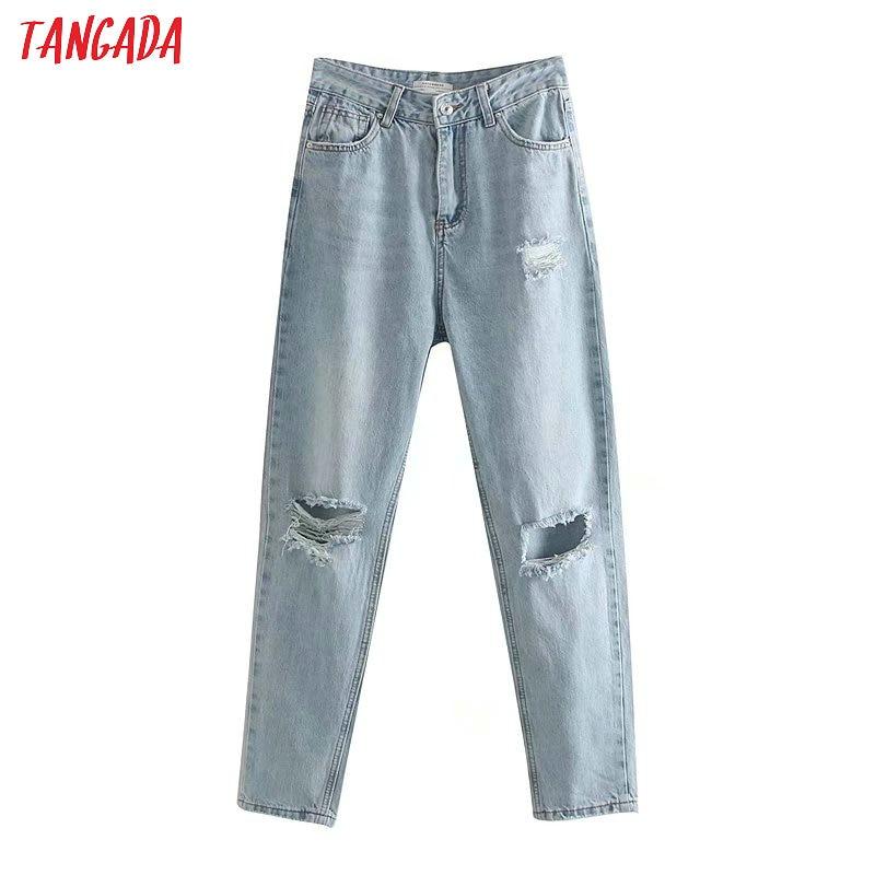 Tangada Fashion Women Loose Mom Jeans Denim Pants Pockets Hole Lady Casual Wear Female Ankle Length Chic Blue Trousers 4M12