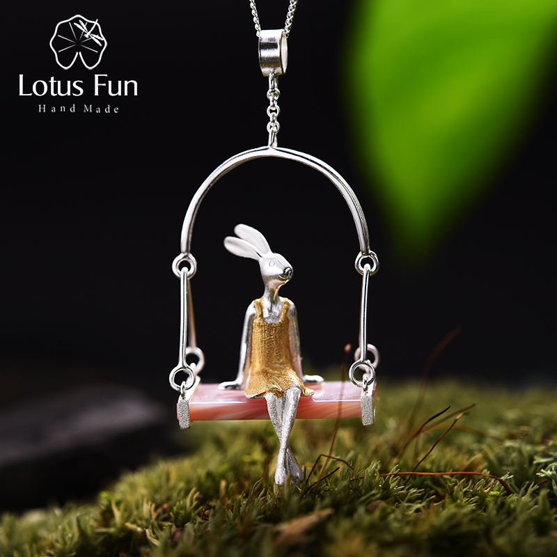 Lotus Fun Real 925 Sterling Silver Natural Mother of Pearl Handmade Fine Jewelry Miss Rabbit Pendant without Chain Acessorios недорого