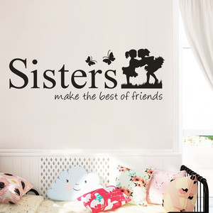 Girls badroom decal wall stickers for kids rooms Sisters Make The Best OF Friends PVC Wall Sticker Home Decor DIY Art d90320(China)