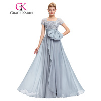 Grace Karin Chiffon Lace Elegant Long Evening Dresses Grey Formal Evening Gowns Robe De Soiree Longue