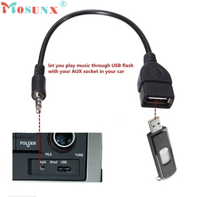 Mosunx  3.5mm Male Audio AUX Jack to USB 2.0 Type A Female OTG Converter Adapter Cable Factory Price car usb sd aux adapter digital music changer mp3 converter for skoda octavia 2007 2011 fits select oem radios