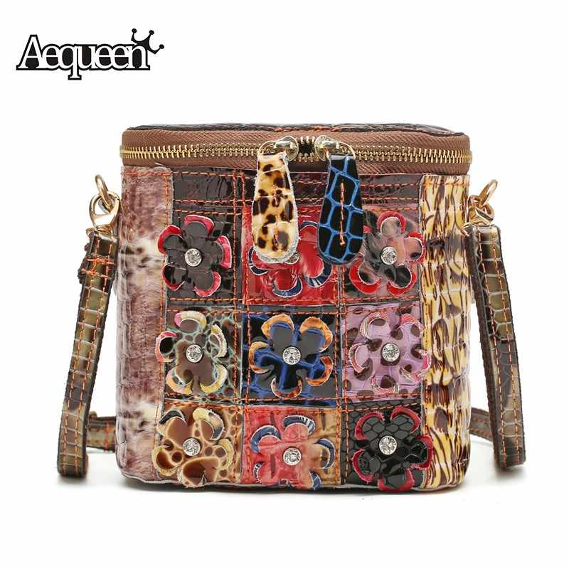 868a1015b441 AEQUEEN Genuine Leather Trunk Bag Women Shoulder Messenger Bags Winter Colorful  Flower Bright Handbag Lady Square
