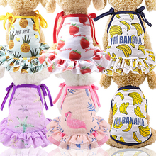 New Cotton Pet Clothes Cute Fruit Pattern Dress T-shirts Lovers Suit Small Medium Cat Dog Supplies Skirts