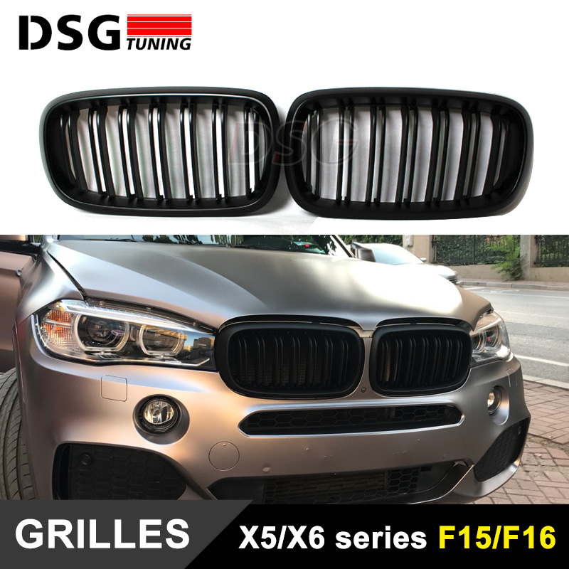X5 X6 Grill Voiture Style Double Latte Calandre Plug & Play Ajustement pour BMW 2015 2016 F15 F16 SUV brillant Noir Grill 2015 +