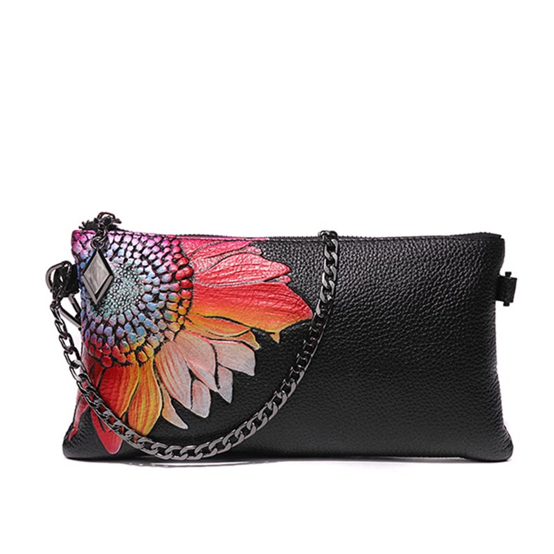 Celebrity Evening Clutch Bag Vintage Genuine Leather Women Handbag Sunflower Long Wallet Shoulder Bag Crossbody Wristlet Purse genuine leather women wristlet bag 2017 new fashion evening clutch purse shoulder chain crossbody handbags free shipping 5002