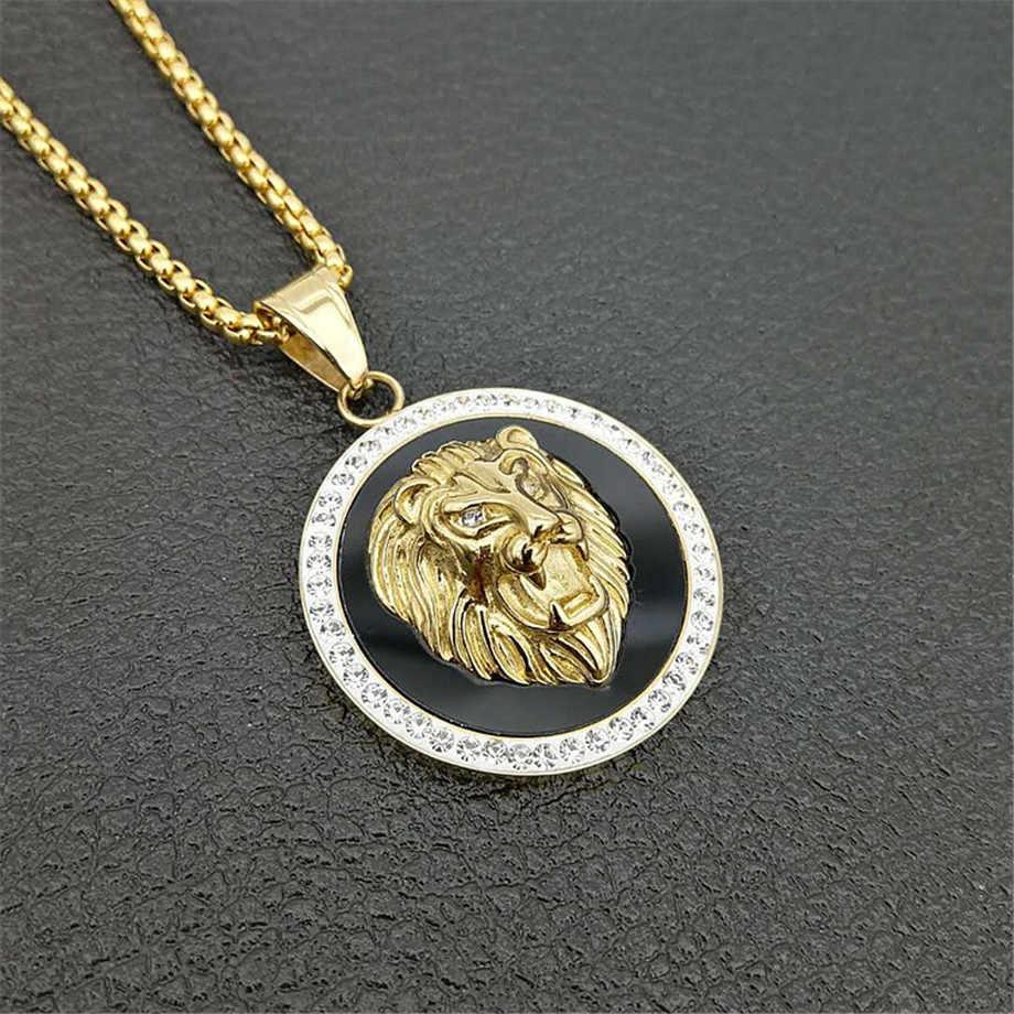 Hip hop charme iced para fora bling ouro leão cabeça pingentes colares masculino cor do ouro aço inoxidável corrente rock jóias presente para homem