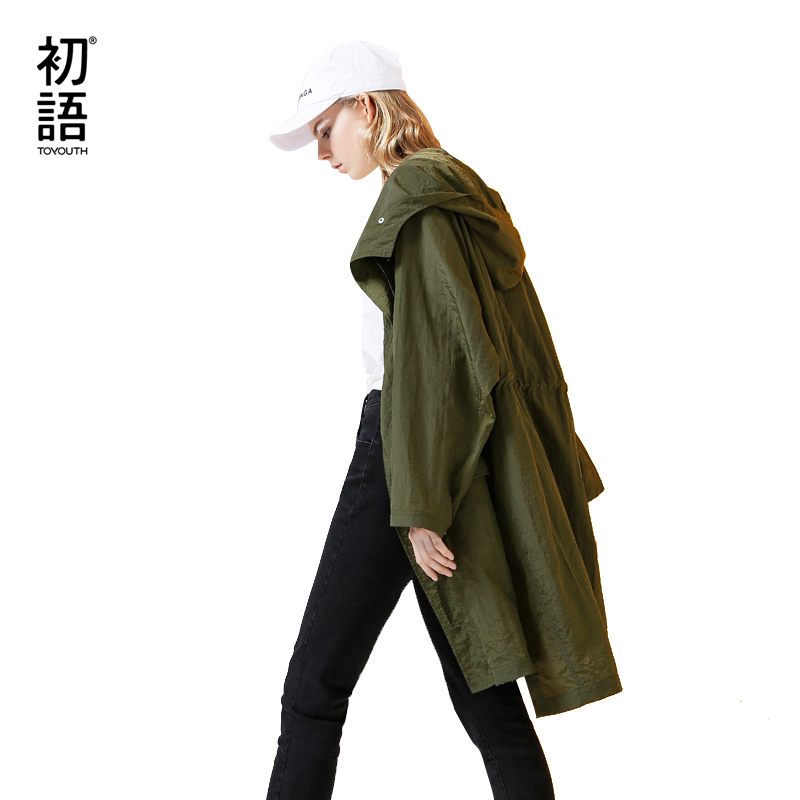 Toyouth Vintage Green Windbreaker Women Irregular Oversized Hooded   Trench   Coat Fashion Autumn Solid Outerwear Long   Trench   Coat