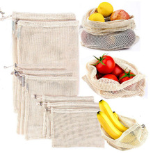 Reusableผ้าฝ้ายผักกระเป๋าบ้านผลไม้และผักเก็บถุงตาข่ายDrawstringเครื่องซักผ้า