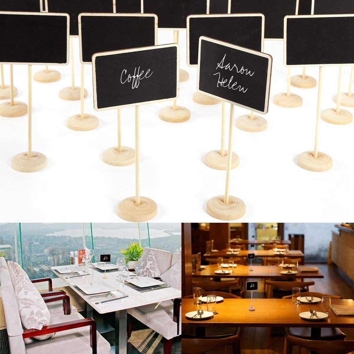24 PCS Mini Blackboard Writable Erasable Write Message Table Number For Wedding Restaurant Cafe Bar