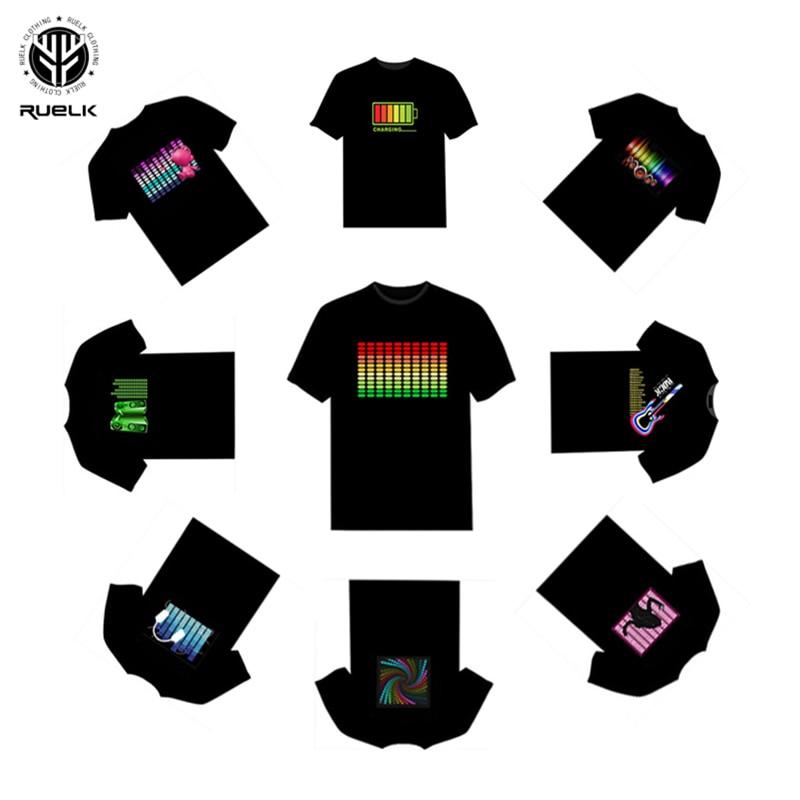 RUELK Venda Quente Levou T-Shirt Dos Homens Party Rock Disco DJ Ativado Por Som LEVOU T Shirt Light Up and down Piscando equalizador TShirt dos homens