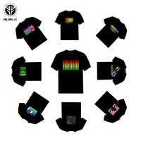 RUELK gorąca sprzedaż Led T-Shirt mężczyźni Party Rock Disco DJ aktywowane dźwiękiem LED T Shirt światło w górę iw dół miga korektor męska TShirt