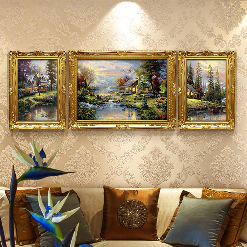 EECAMAIL European New Style Living Room 5D Diy Triptych Diamond Embroidery Thomas Style Happy Family Scenery
