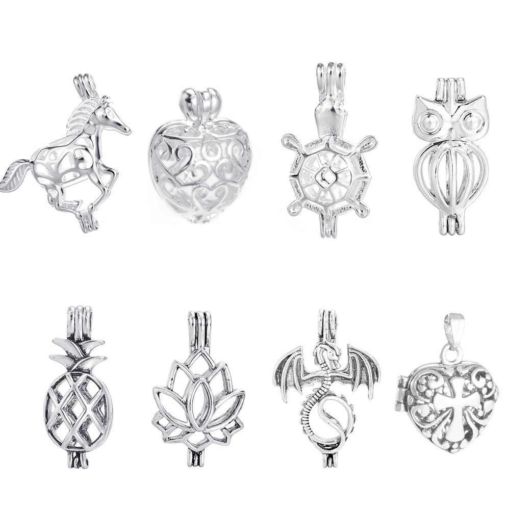 DIY Glas Perle Käfig Medaillon Schmuck Antike Vintage Silber Parfüm Aroma Ätherisches Öl Diffusor Halskette Medaillon Anhänger