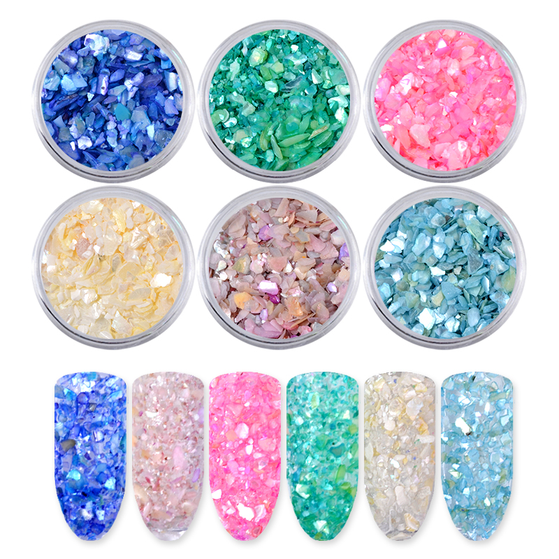 6 Colors/Set Natural Pearl Light Nail SeaShell Slices Particle Crushed Shell Charm Manicure Nail Art Glitter Decoration Tools 9 colors choice hot popular natural shells japan style 3d shell sticker nail art decoration tools yx152