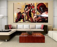 Modern Home Decorative Living Room Or Bedroom Wall 3 Piece Merc with a Mouth Deadpool And Sexy Girl Poster On Canvas Print Type(China)
