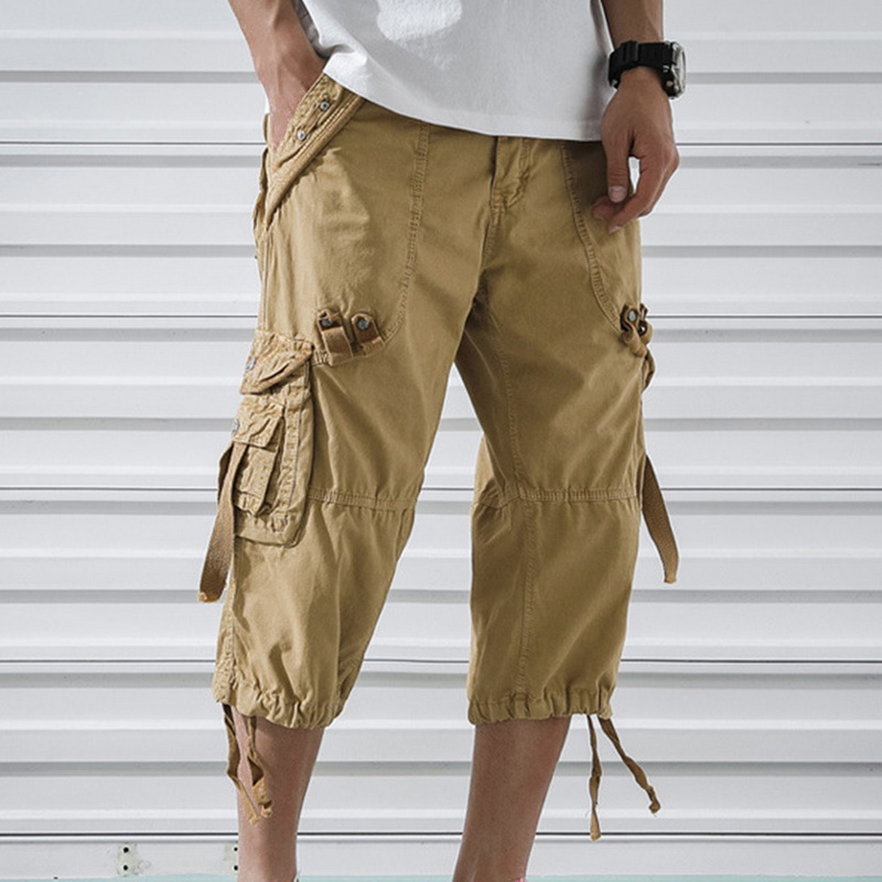 MJARTORIA 2019 New Summer Cargo   Shorts   Male Casual Workout Military Army Men's Multi-pocket Calf-length Breathable   Shorts