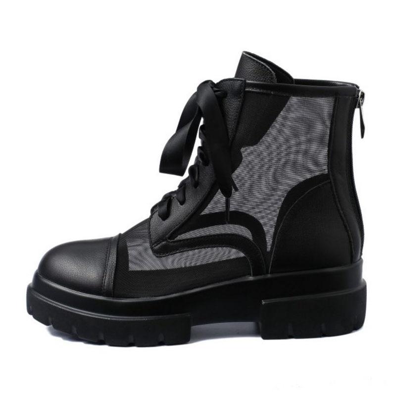 Pisos Calzado Las 34 Pie Dedo Respirables Redondo De Mujer Negro Tamaño Del Encaje Zapatos Verano Tobillo Botas marfil Real Ocio Mujeres Cuero 40 qwSr0aqf