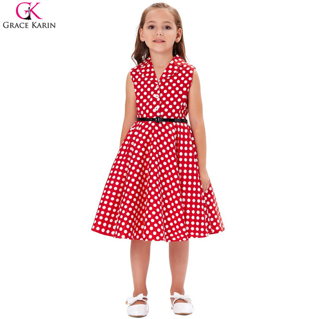 785855622c68 Grace Karin Flower Girl Dresses Swing Pin Up 50s Vintage Dress Audrey  Hephurn Polka Dot Retro Wedding Party Kids Summer Dresses