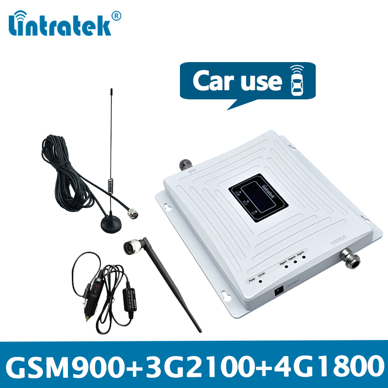 Lintratek Car Signal Repeater GSM 2G 3G 4G Booster GSM 900 Repeater 3G 2100 Ampli 4G 1800Mhz Triband Car Truck Vehicle KW20C-GDW