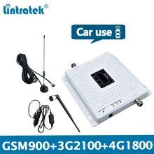 Lintratek רכב אות מהדר GSM 2G 3G 4G Booster GSM 900 מהדר 3G 2100 מגברי 4G 1800Mhz Triband רכב משאית רכב KW20C GDW