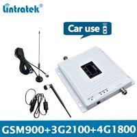 Lintratek repetidor de sinal do carro gsm 2g 3g 4g reforço gsm 900 repetidor 3g 2100 ampli 4g 1800 mhz triband carro caminhão veículo KW20C GDW Estação de retransmissão     -
