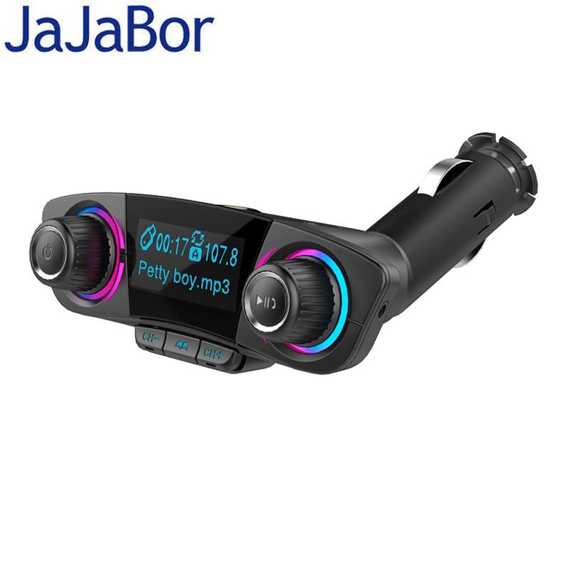 JaJaBor Bluetooth Car Kit Handsfree FM Transmitter Wireless A2DP AUX Audio Car MP3 Player Support U Disk TF Card Folder Playback jajabor bluetooth car kit wireless fm transmitter handsfree call car mp3 audio player dual usb support tf card u disk playback