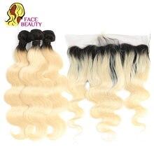 Facebeauty cheveux Remy brésiliens naturels, blond ombré, 1B/613, 13x6, mèches de 2/3/4, Body Wave, d'oreille à oreille